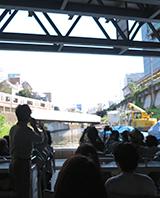神田川から見上げる御茶ノ水駅