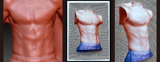 息子の腹筋を3Dスキャンして真空成形型を作製した。