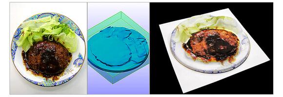 コンビニのハンバーグを3Dスキャンして真空成形品を作成。